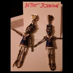 New, Rare Betsey Johnson Sailer Ballerina Earrings